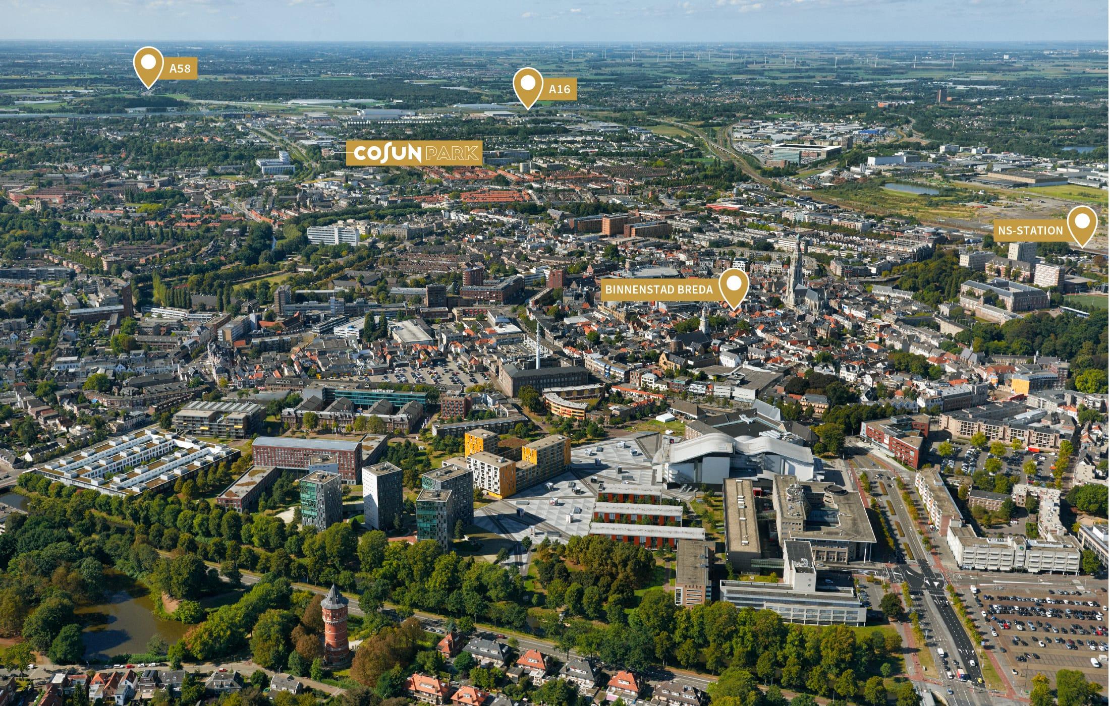 Luchtfoto Breda met indicaties Cosun Park